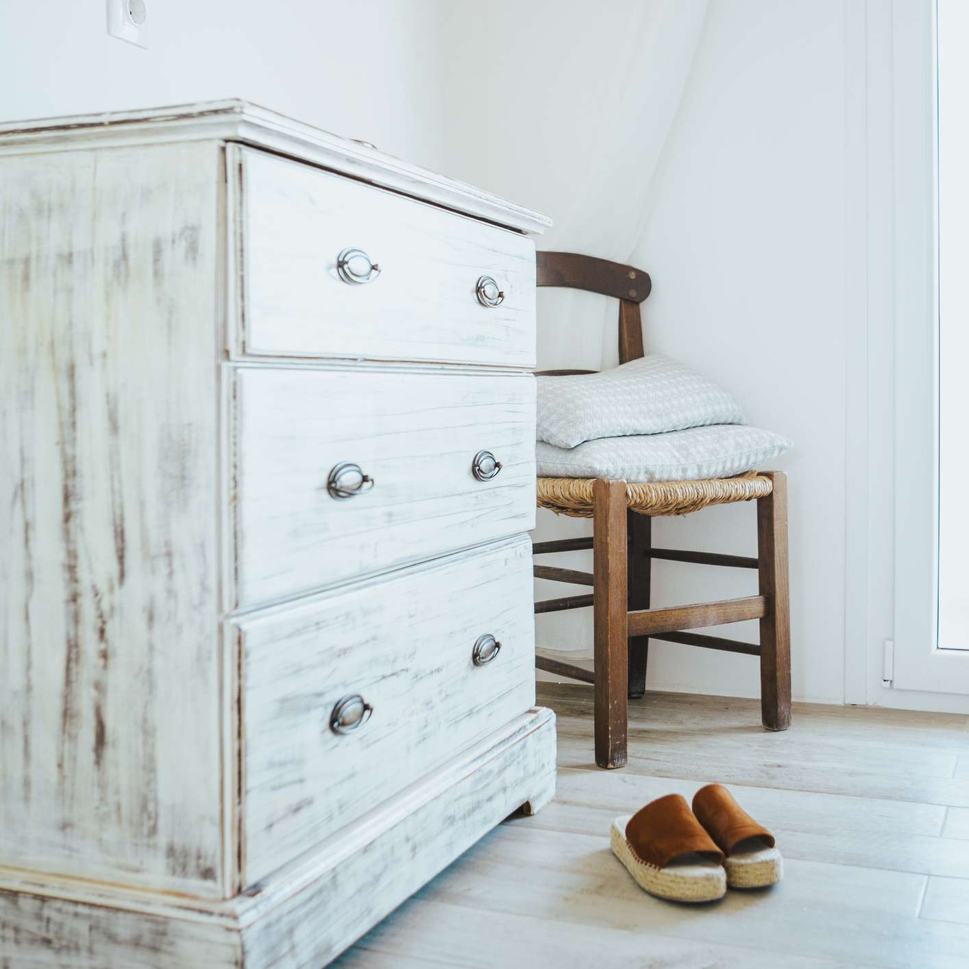 second hand white washed dresser and chair