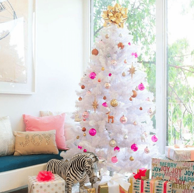 white tree with pink accessories