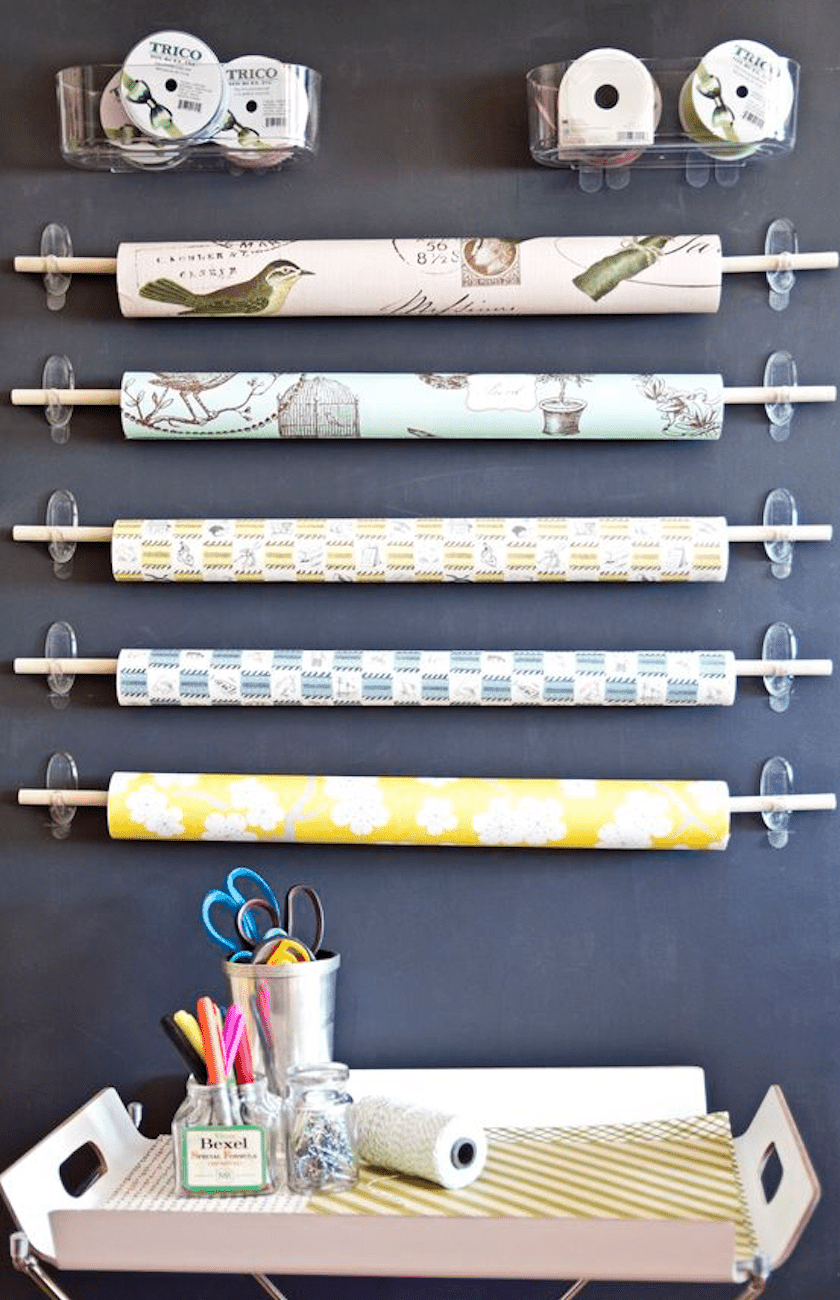wrapping paper setup made with command hooks and dowels