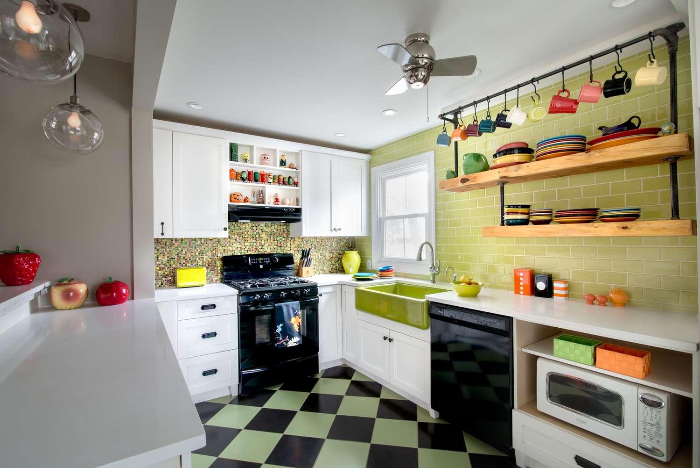 green and black retro kitchen