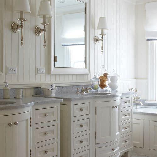 A beadboard bathroom with traditional vanities