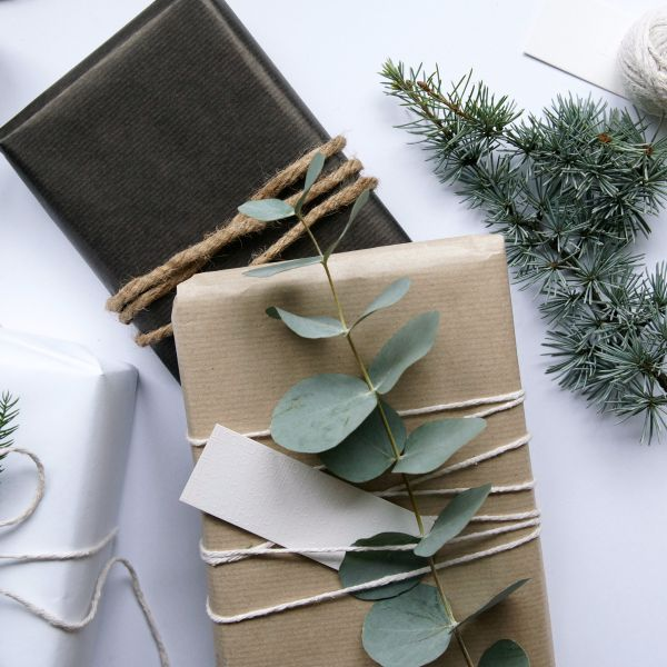 Christmas packages with greenery