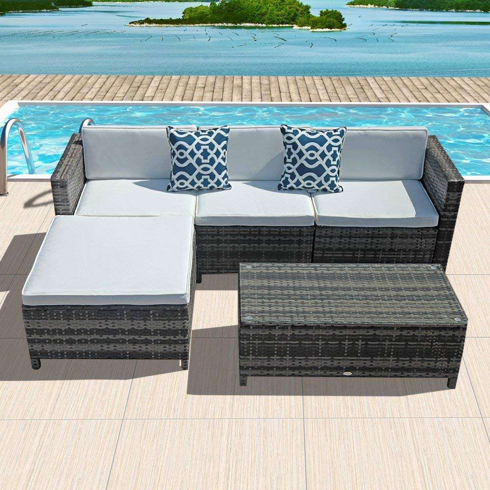 PATIOROMA 5-Piece Wicker Sectional Furniture Set