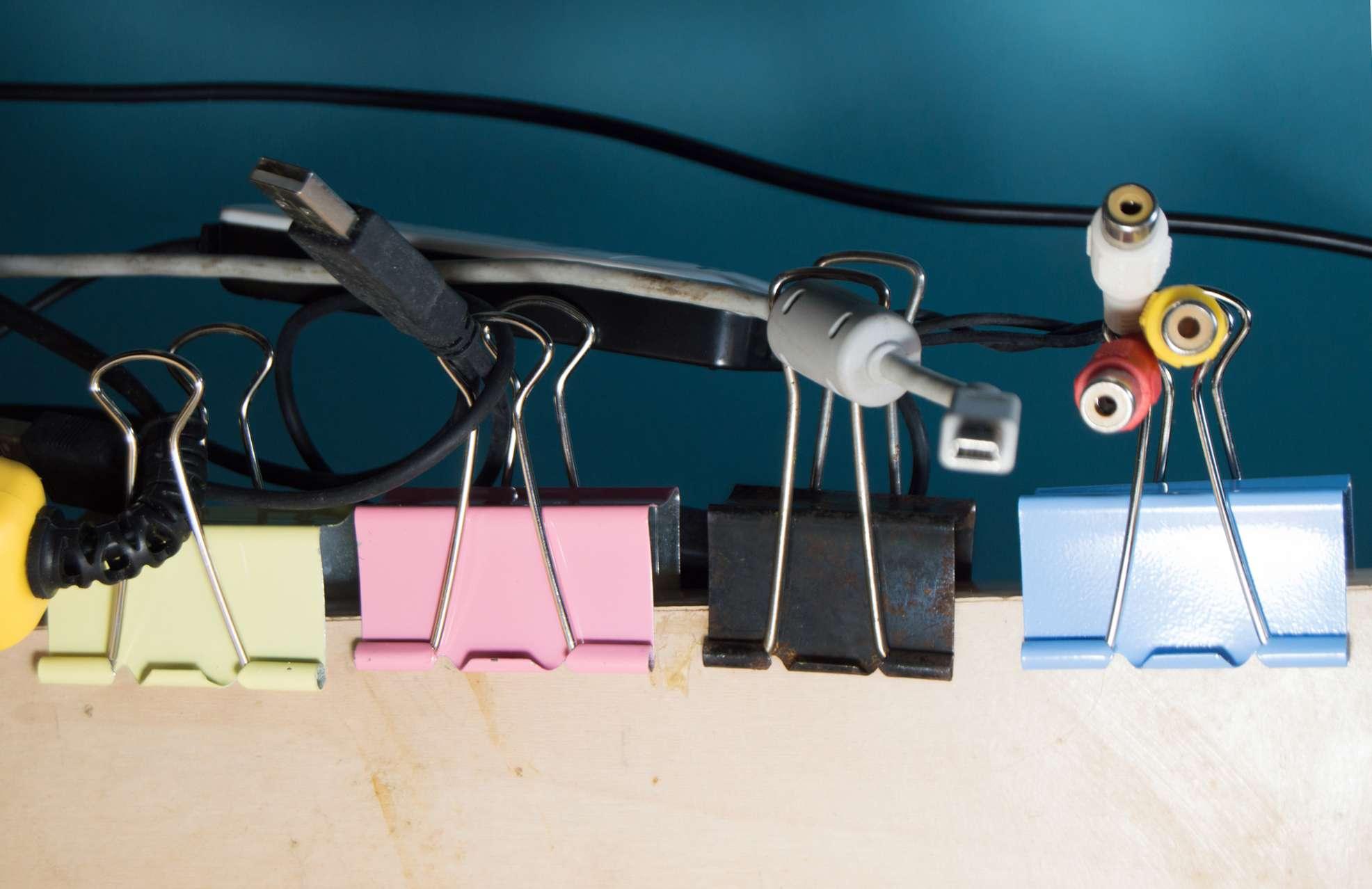 feeding cables through binder clips
