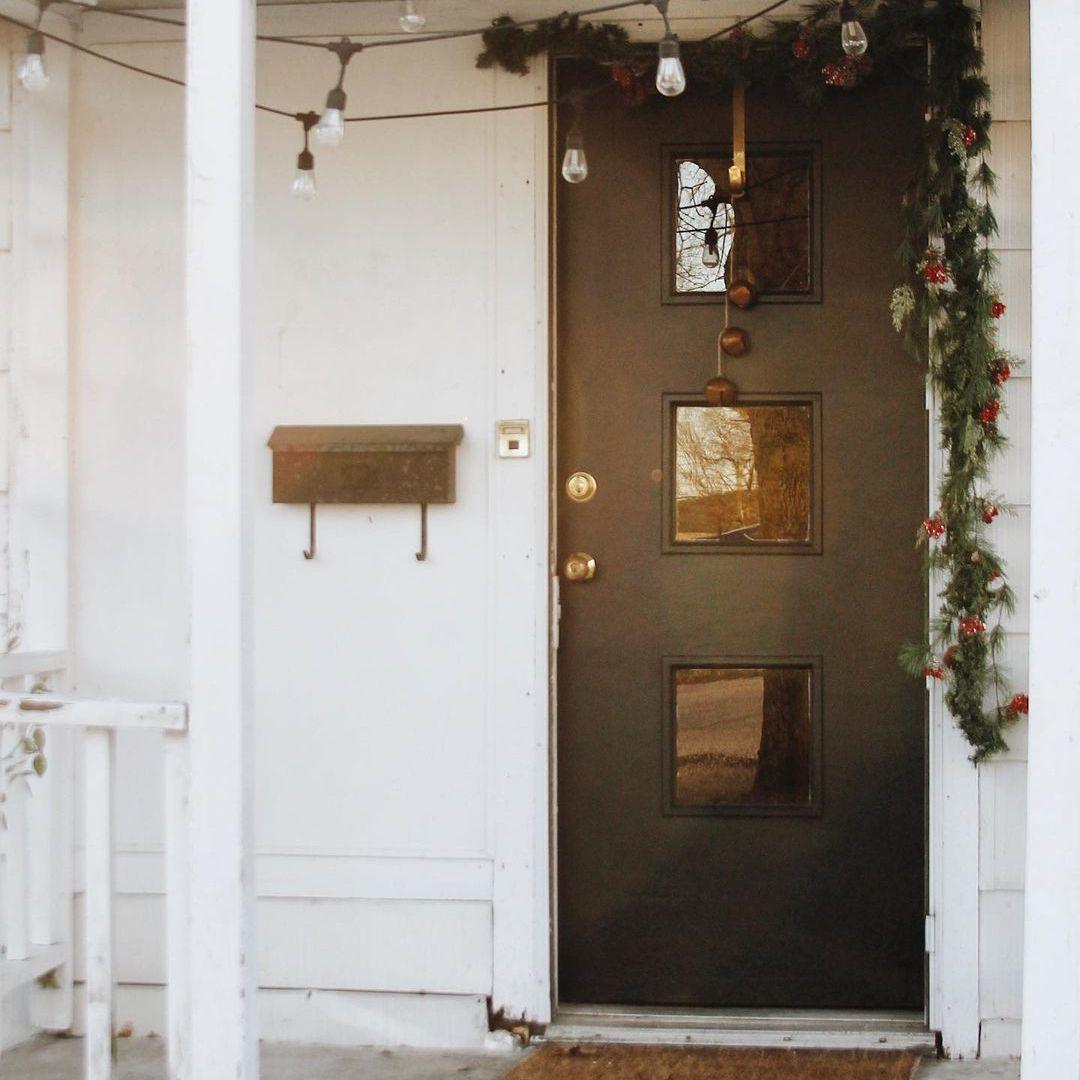 Black door with garland