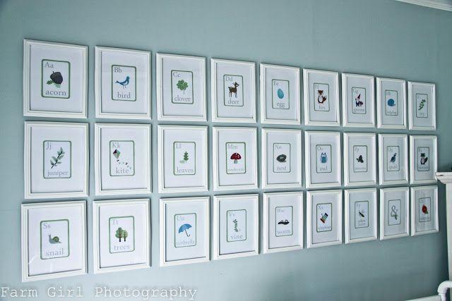 Framed flash cards as nursery art