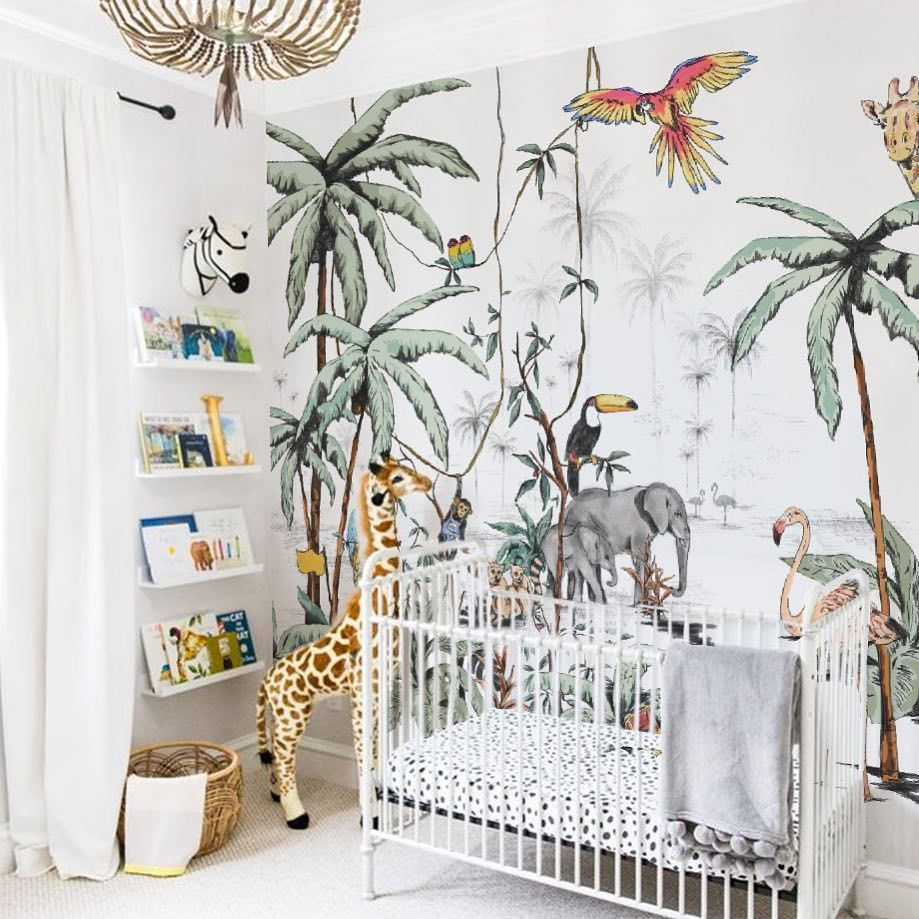 Jungle-themed animal nursery