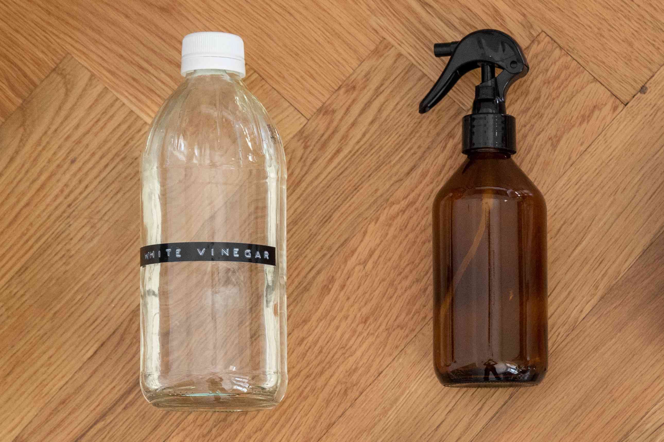 Mixing a 50/50 vinegar and water solution in a spray bottle