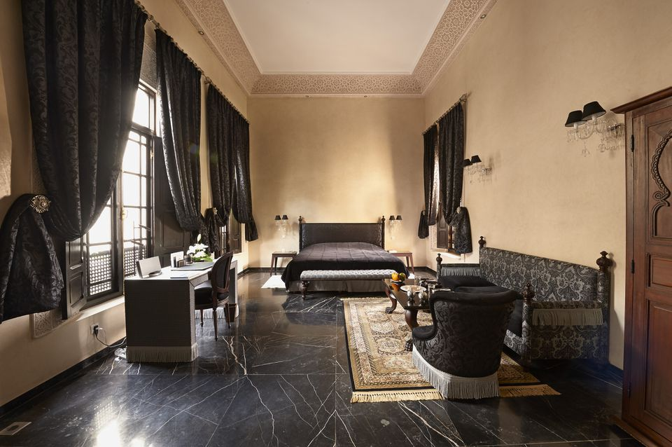 A room with black furniture