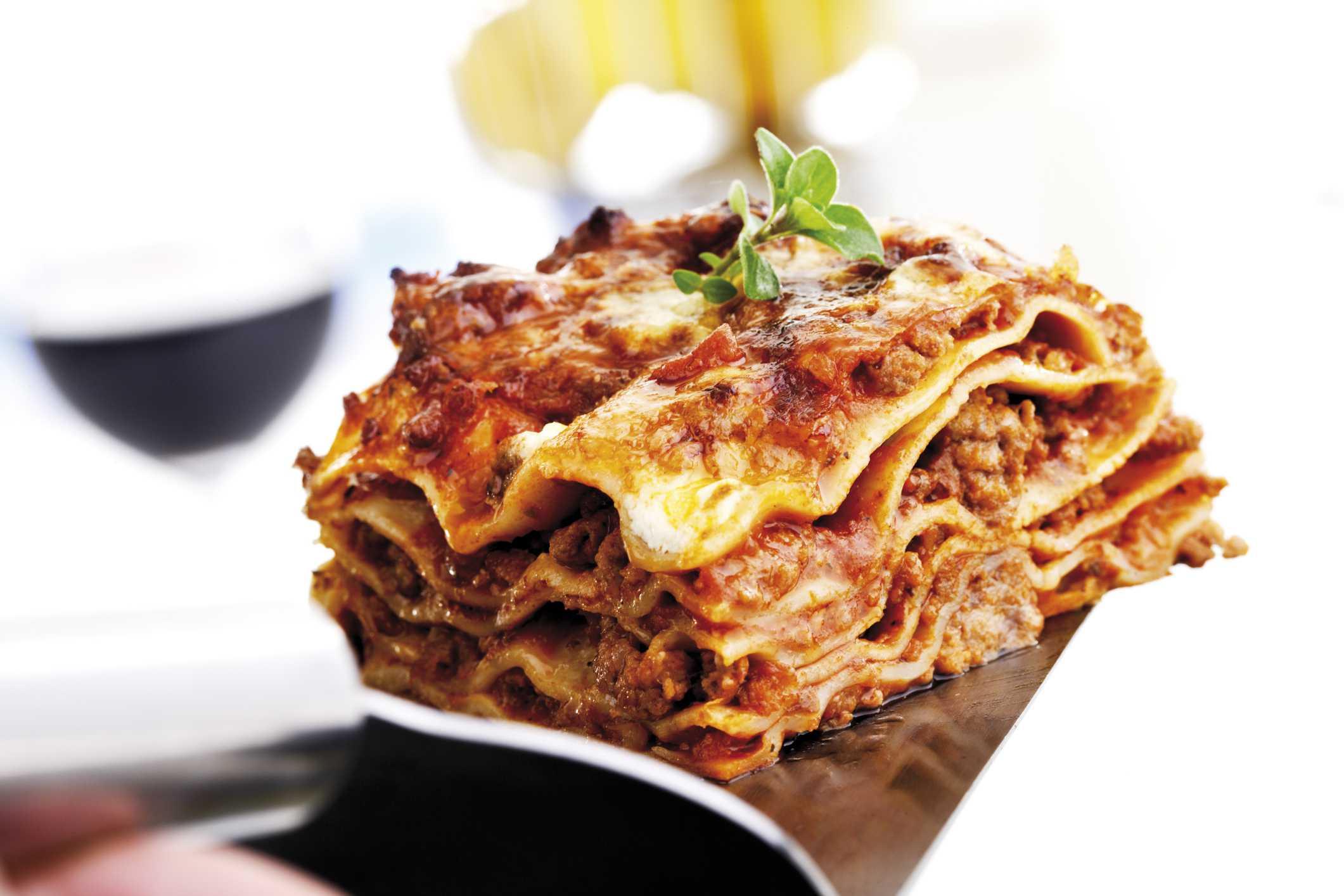 A serving of lasagna