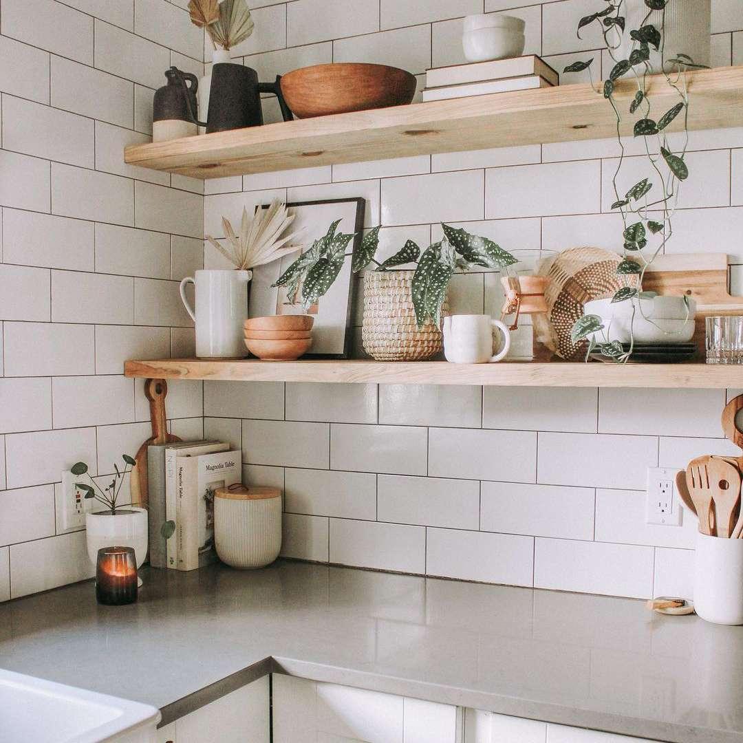 White kitchen corner with shelves