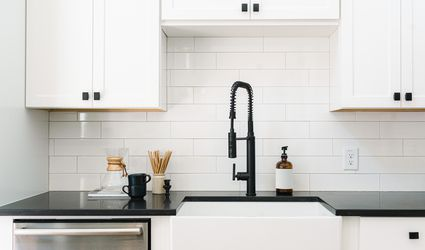 Clean white kitchen subway tile backsplash
