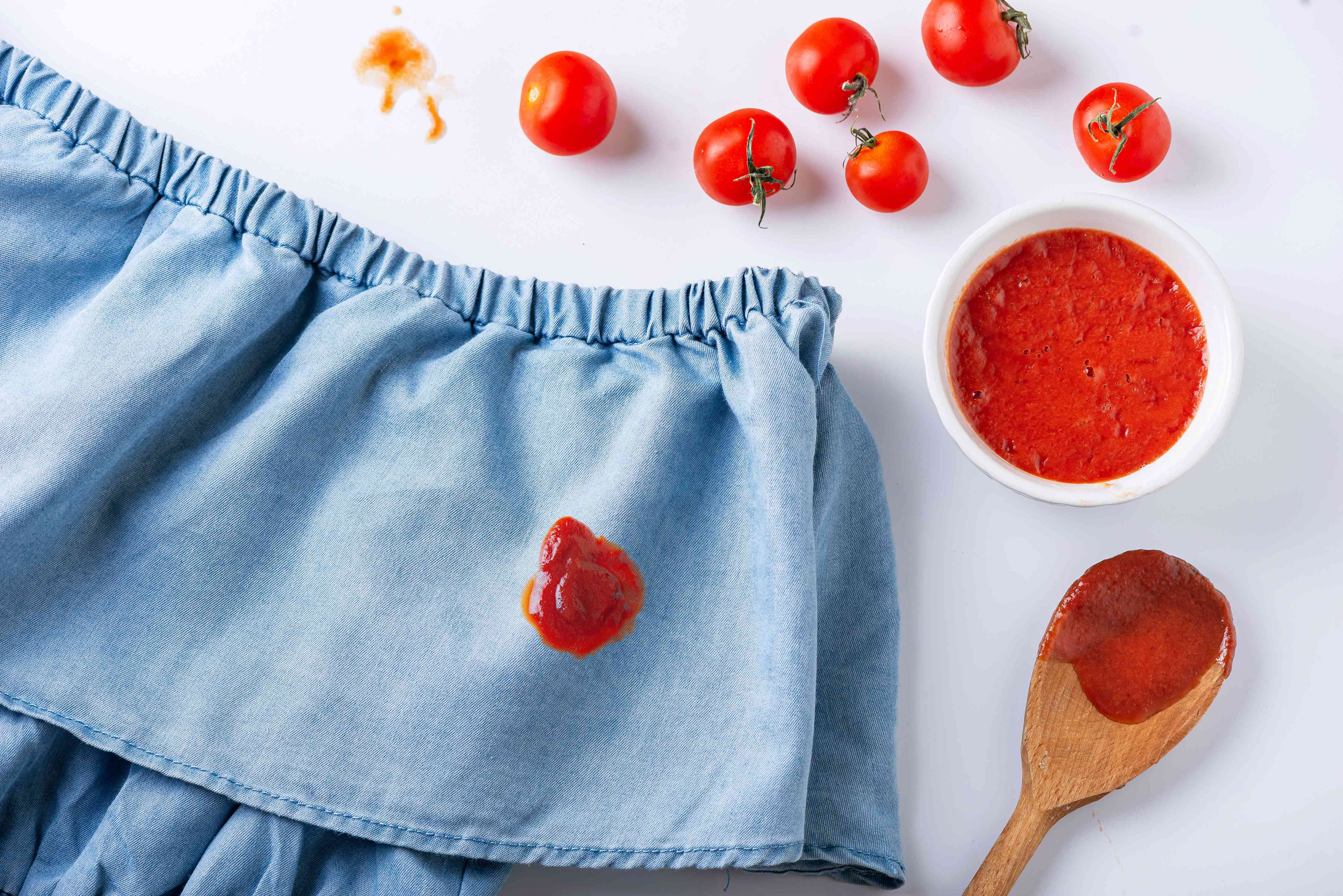tomato sauce stain on a blouse