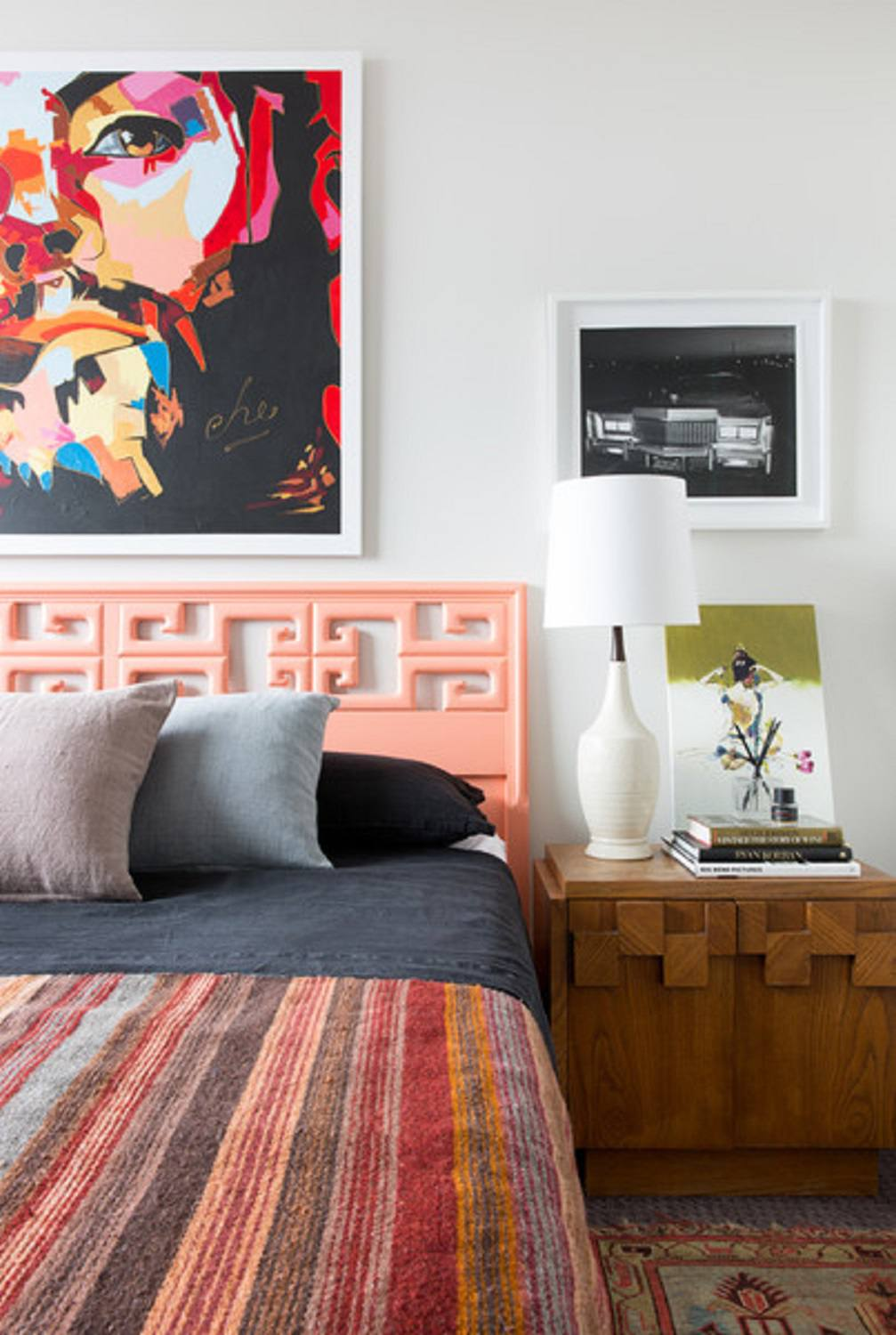 Modern bedroom with coral accents