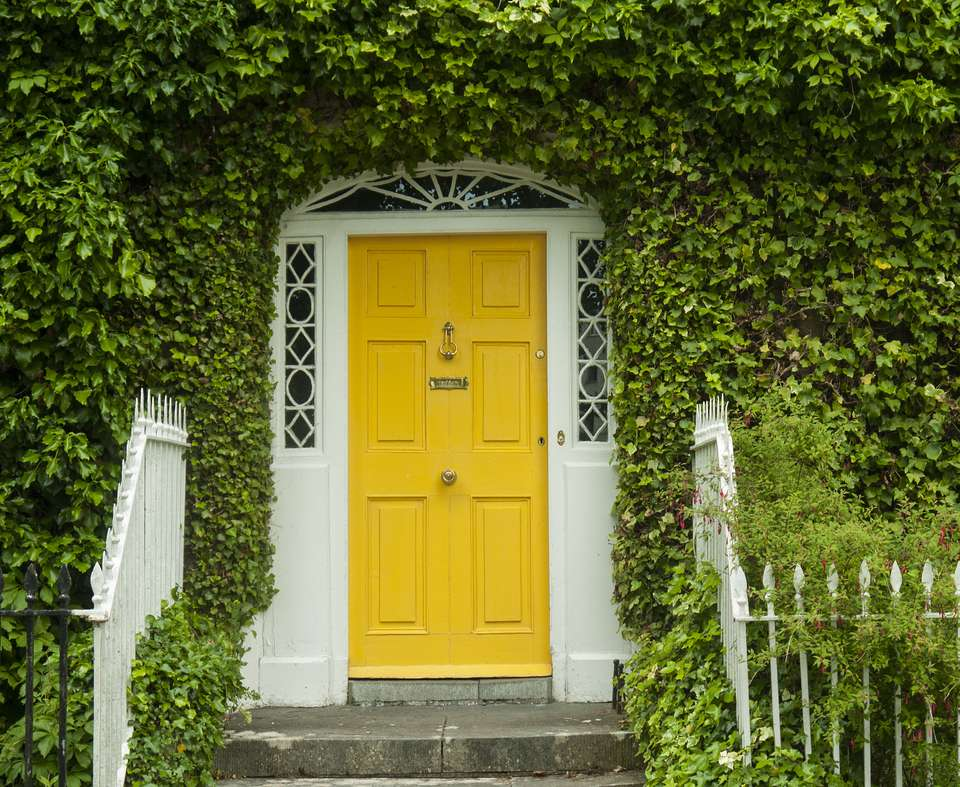 Icy-covered home with a bright yellow front door