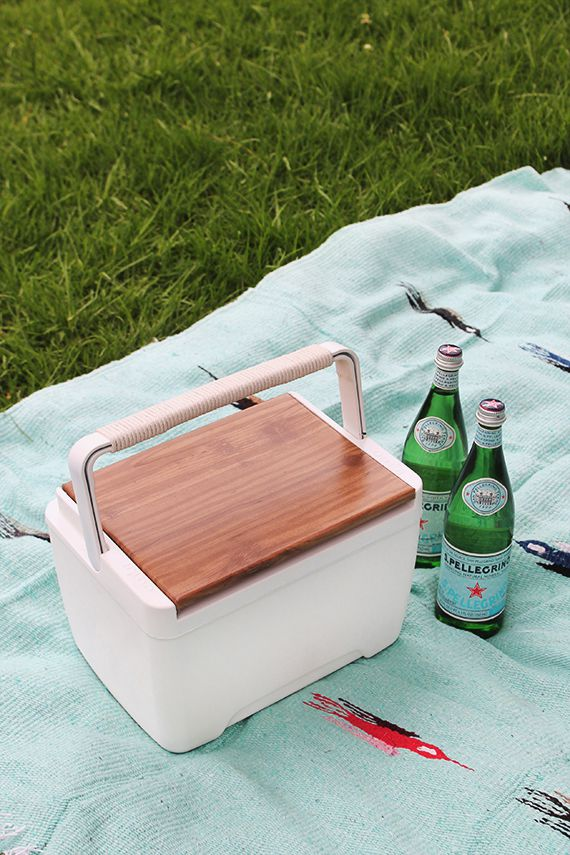 cooler on a picnic blanket