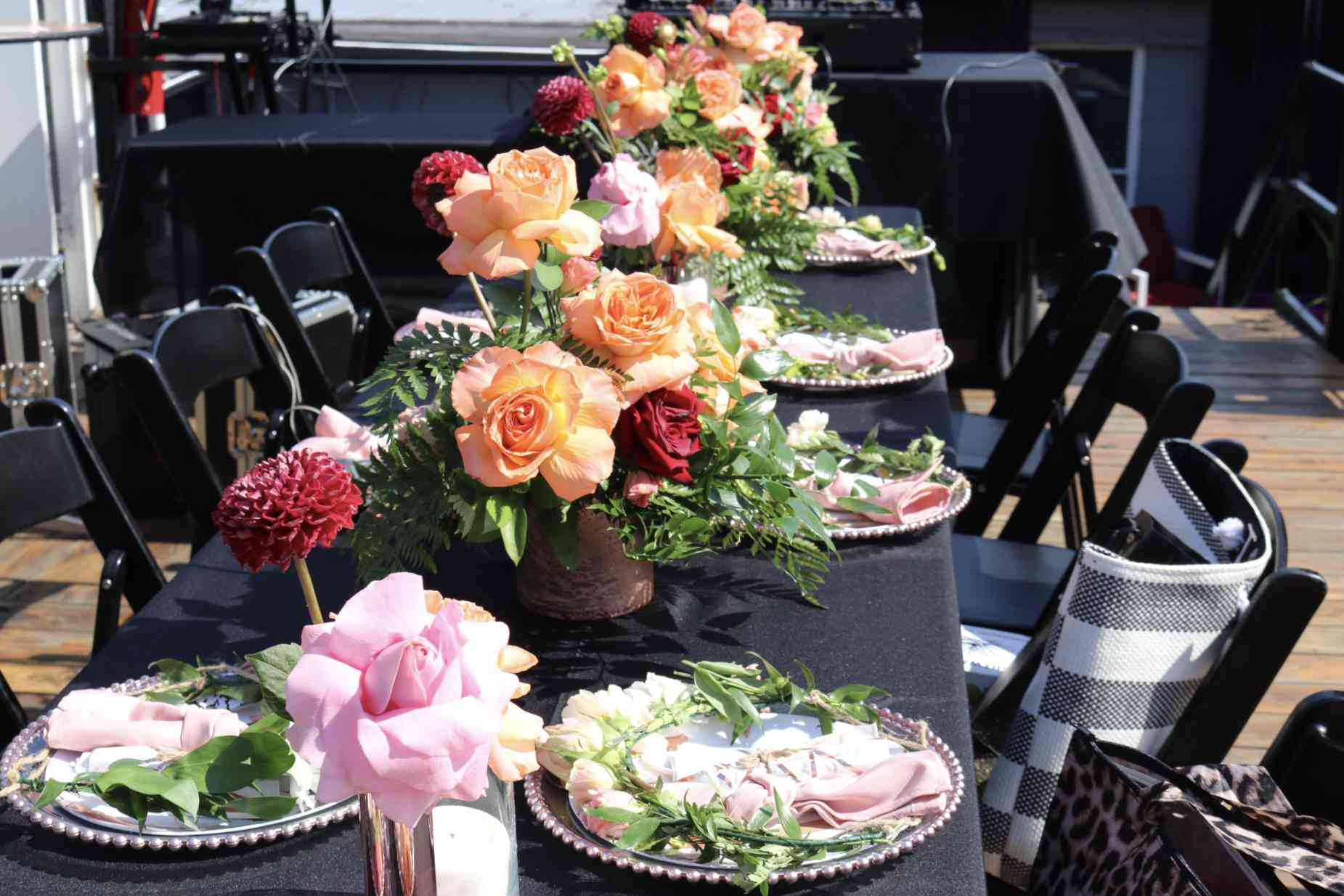 Fall tablescape with floral centerpieces