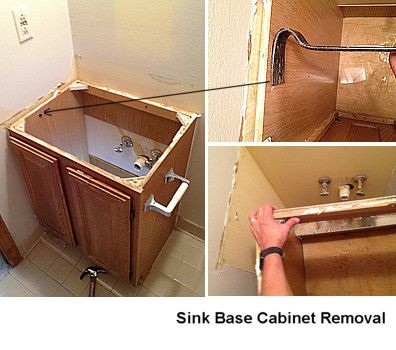Removing the old sink base cabinet