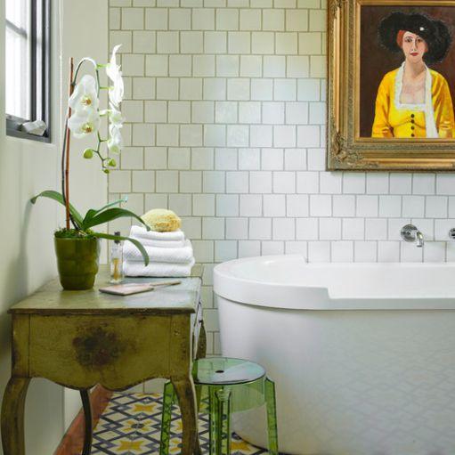 Mediterranean-style bathroom with mosaic floor