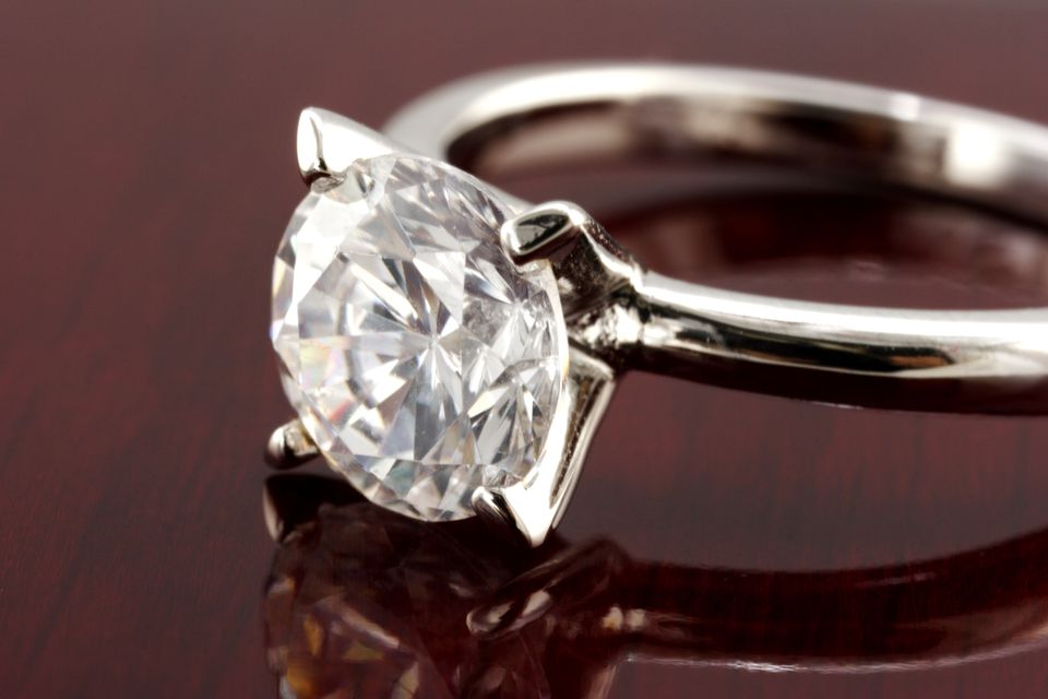 Diamond solitaire ring closeup