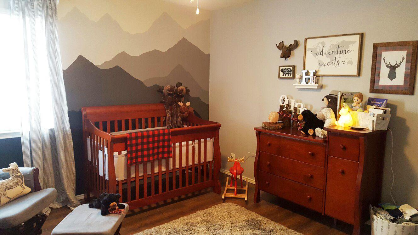 Rustic lumberjack-themed nursery