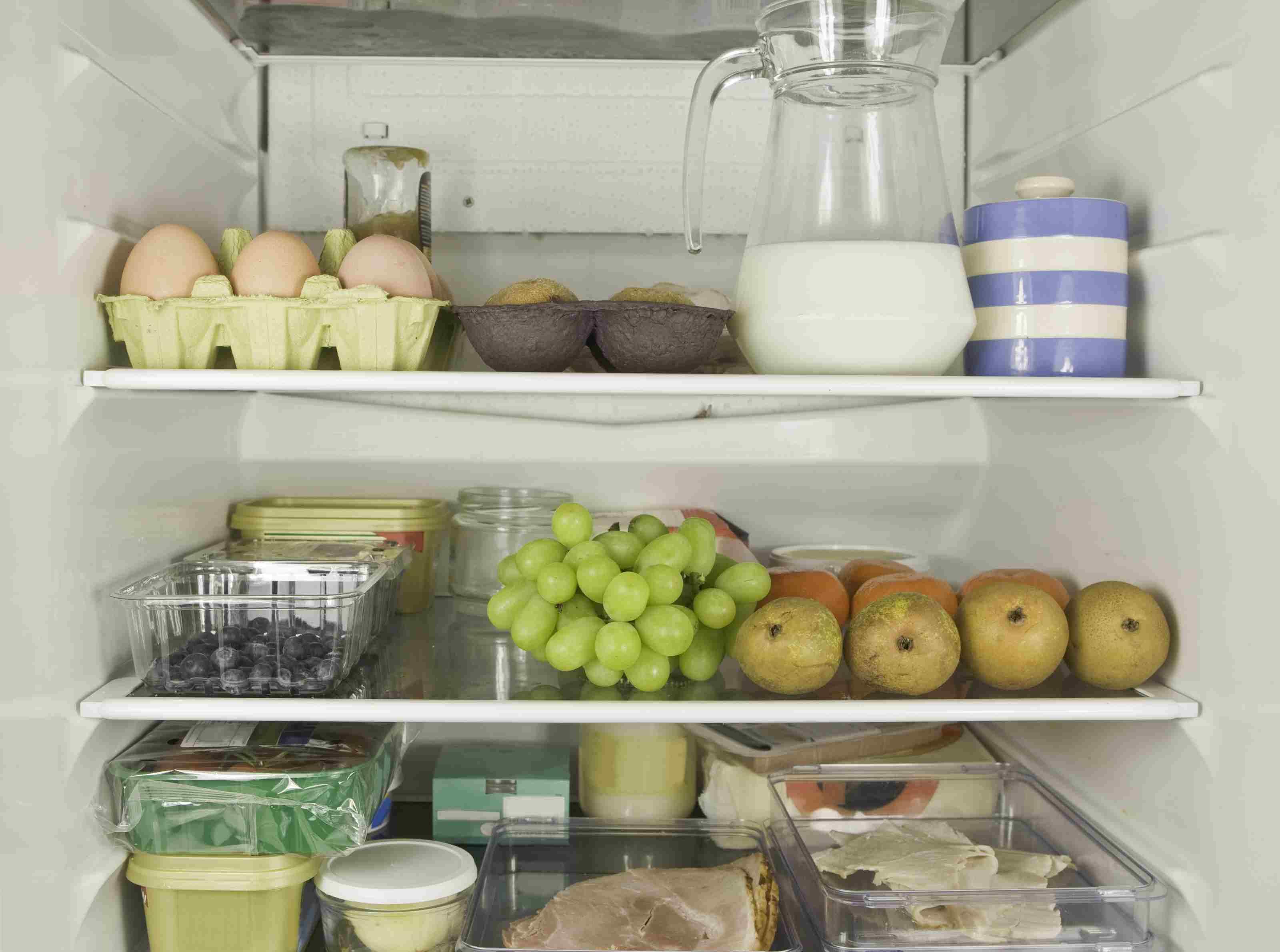 A refrigerator full of food.