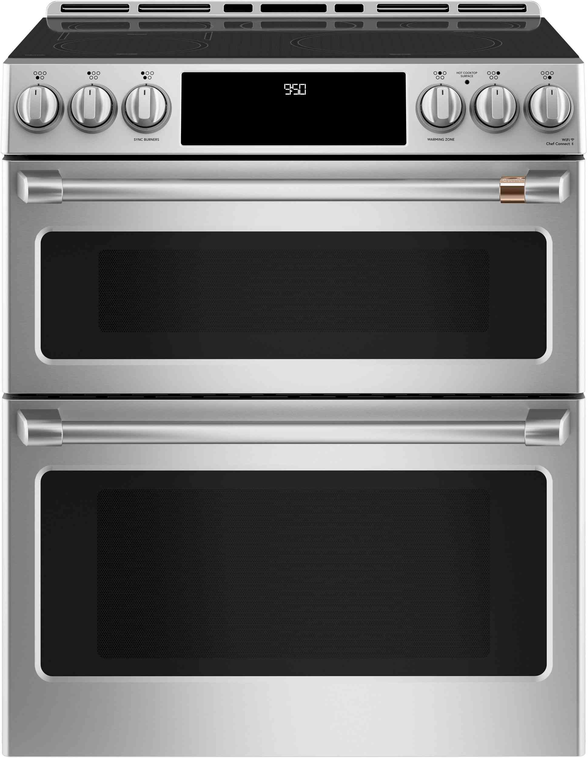 The Cafe 6.7 cu. ft. Smart Slide-In Double Oven Induction Range has a self-cleaning feature and specialty lower oven settings.