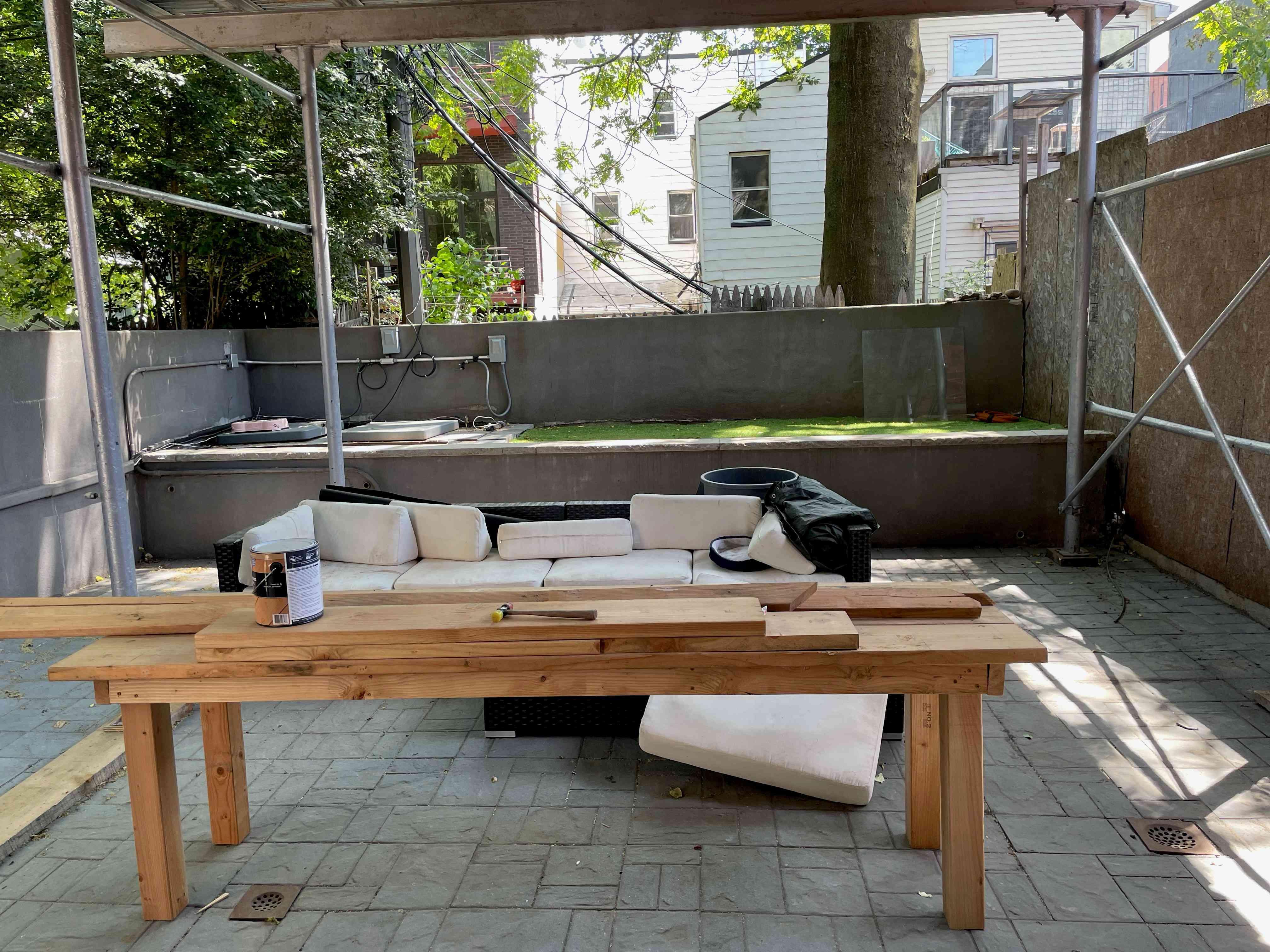 Jamie Chung's Brooklyn backyard under renovation