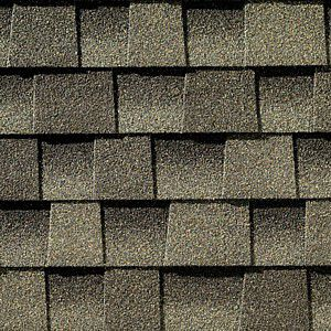 A close-up of asphalt shingles