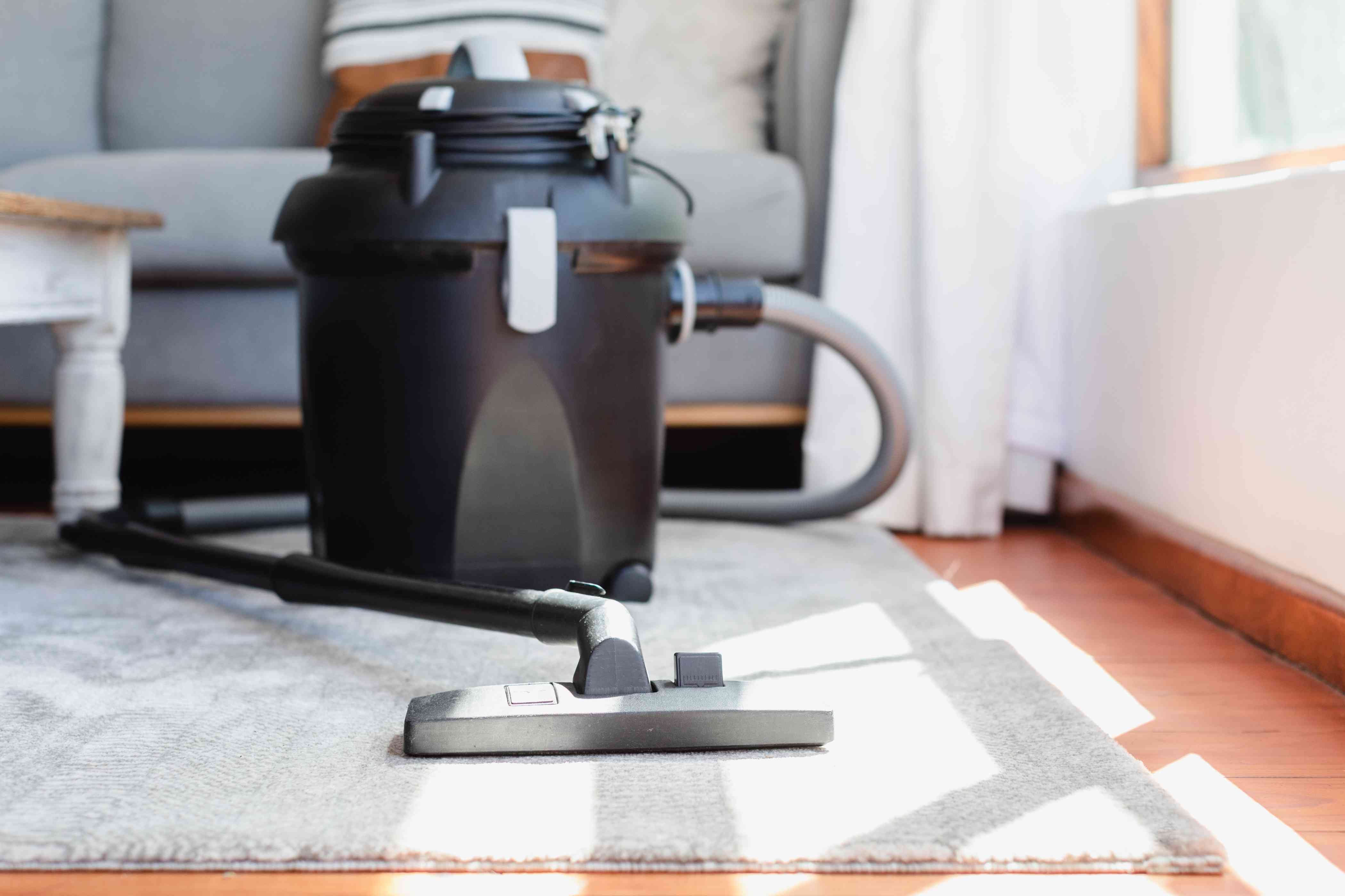 Upright vacuum cleaner resting on carpet