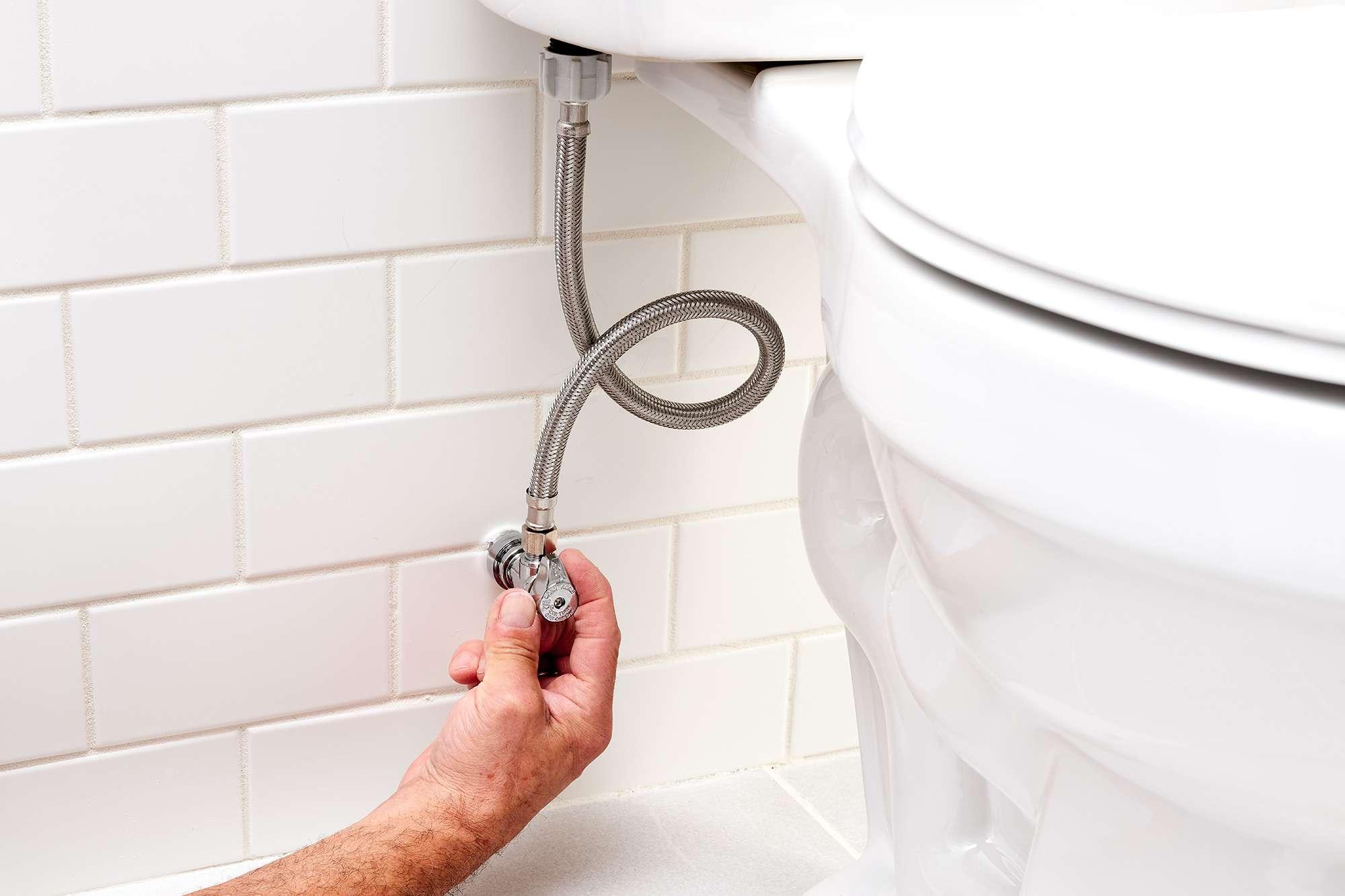 Water shut off by turning the shutoff valve under the toilet