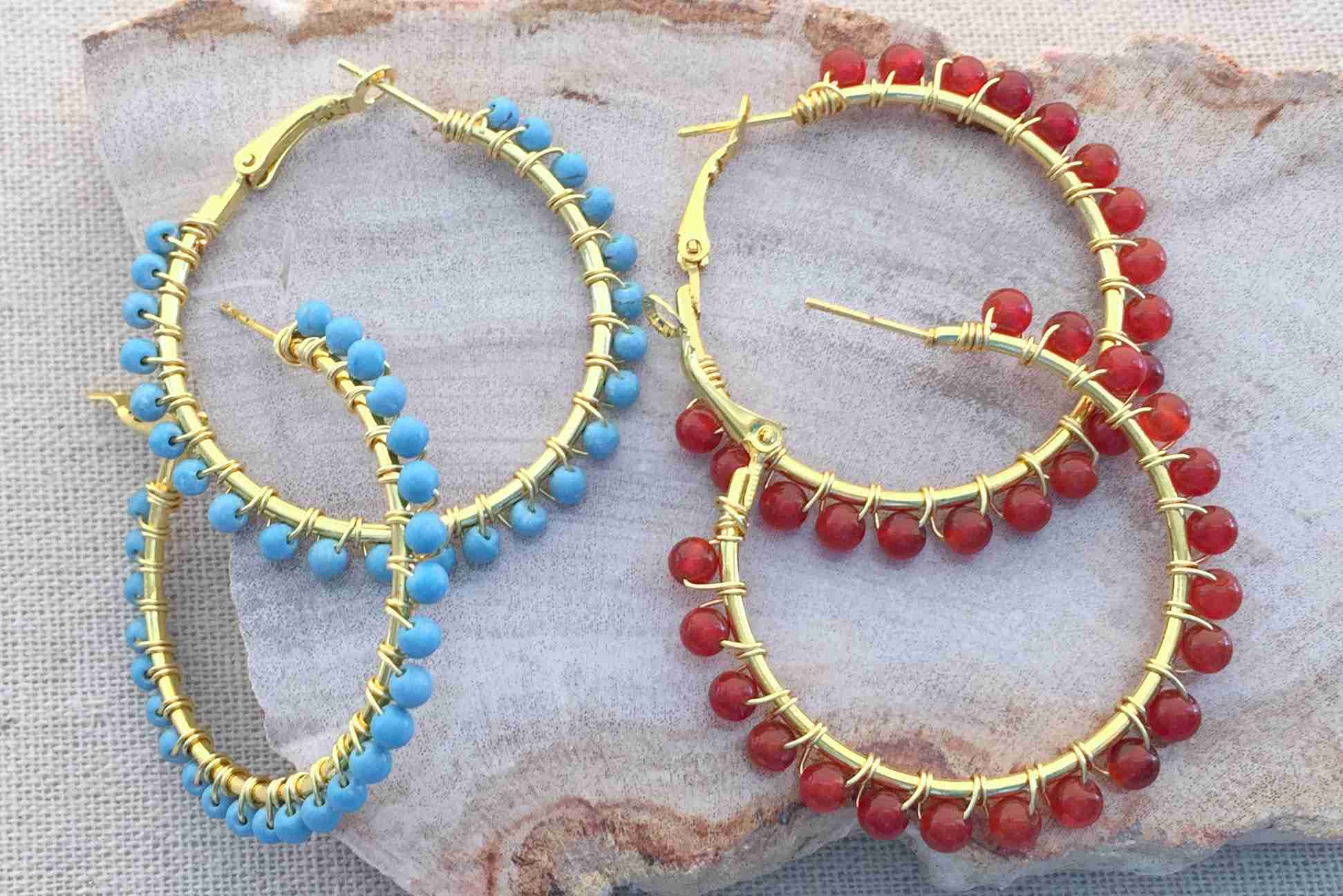 Wire Wred Bead Hoop Earrings Tutorial
