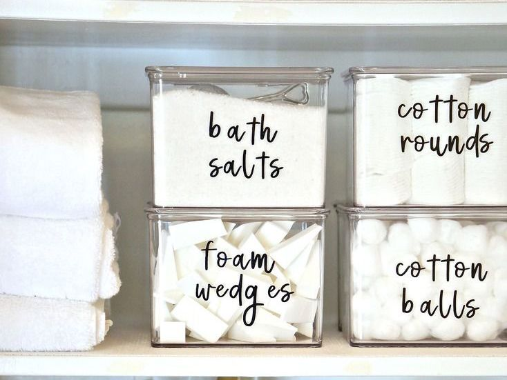 labeled bathroom containers