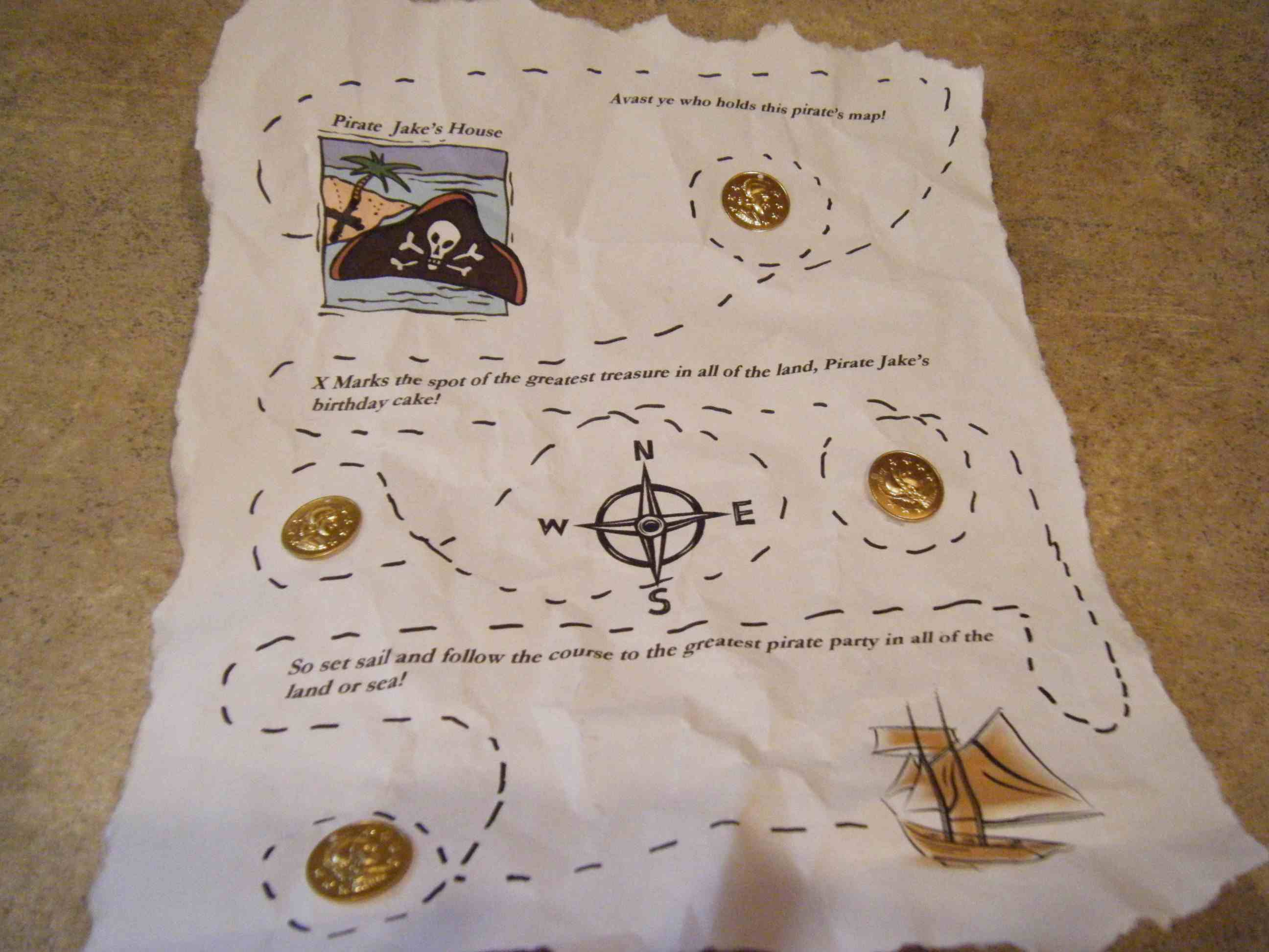 Treasure map party invitation