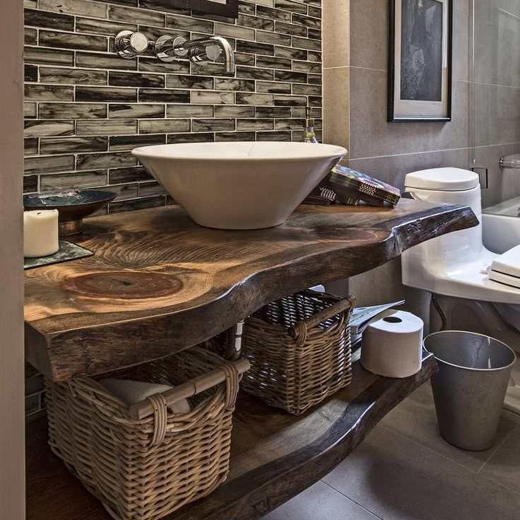rustic live edge wood bathroom vanity