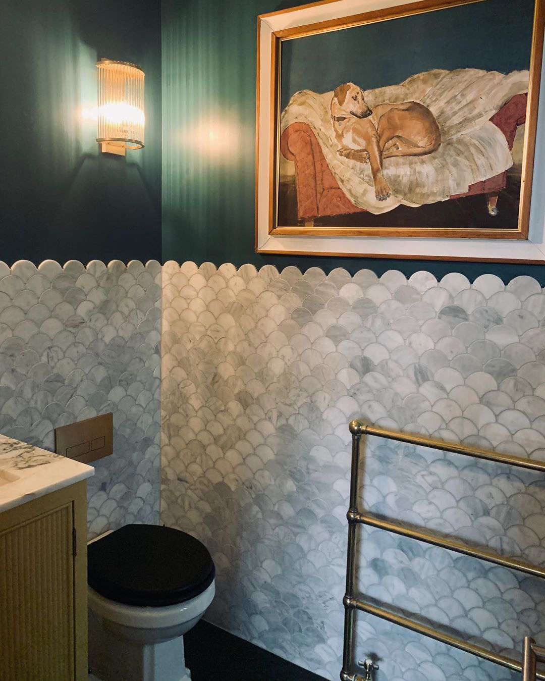 Bathroom with gray scallop tiles