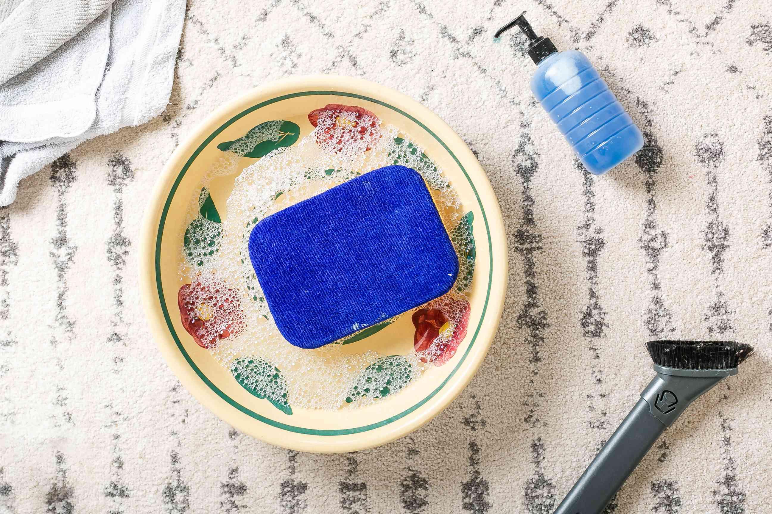 sponge in soapy water