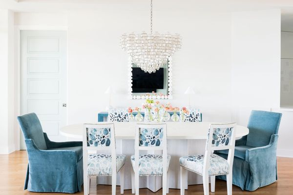 pendant light in blue and white dining room