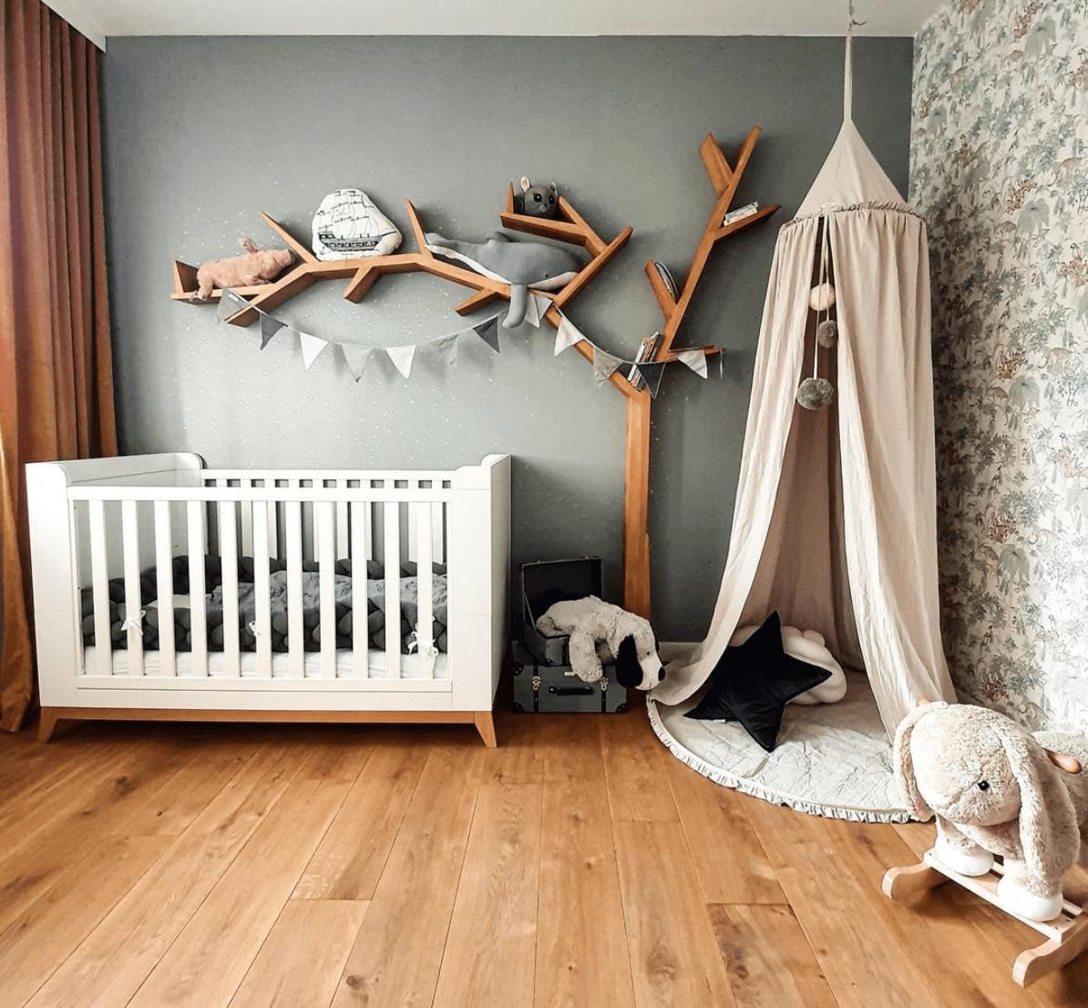 A large, tree-shaped shelf in a nursery.