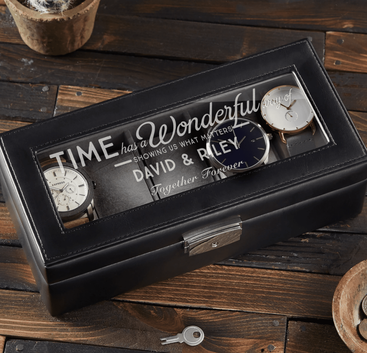 Timeless Message Personalized Leather Watch Box