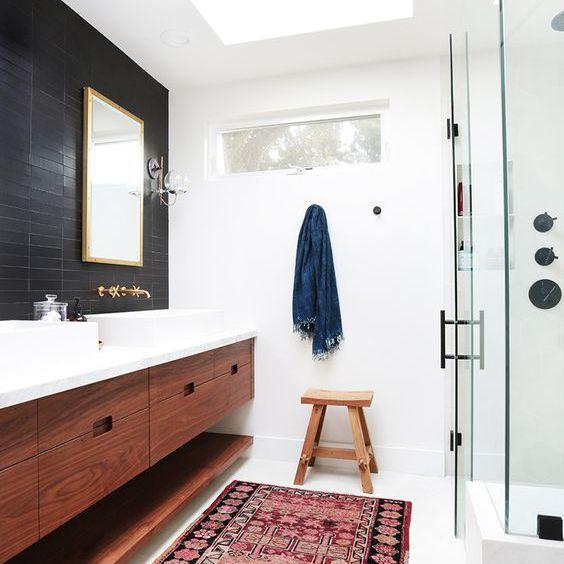Bathroom with a Turkish runner rug