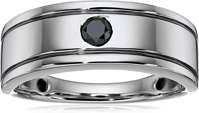Amazon Collection Men's 10k White Gold Black Diamond Ring
