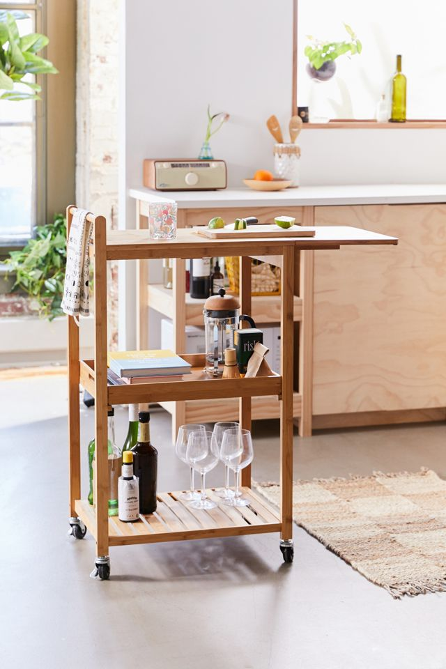 Urban Outfitters Bamboo Rolling Kitchen Cart