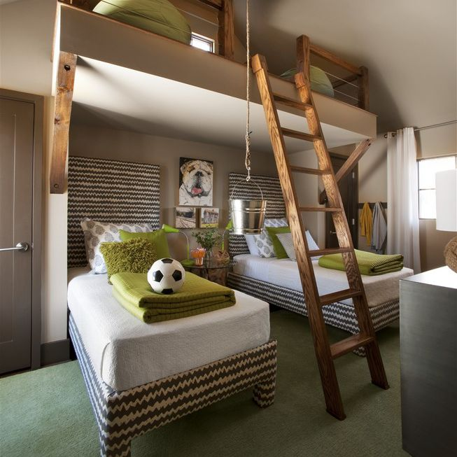 Boy's Room with soccer theme and loft