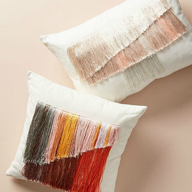 Artistic and Colorful Fringe Pillow