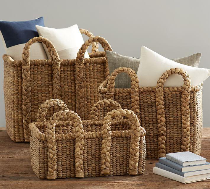 Beachcomber Handwoven Seagrass Rectangular Handled Baskets