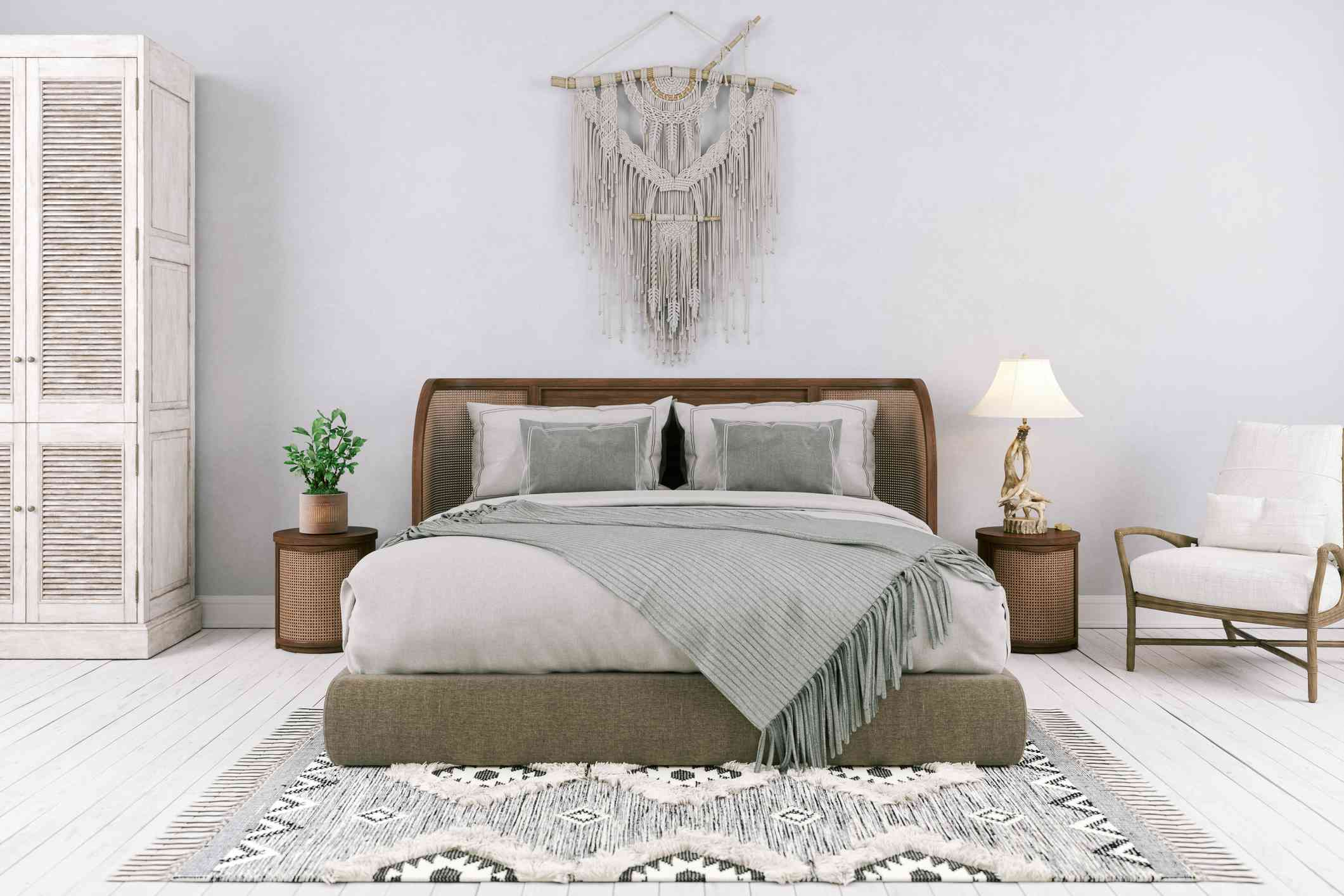 A boho bedoom with matching side tables