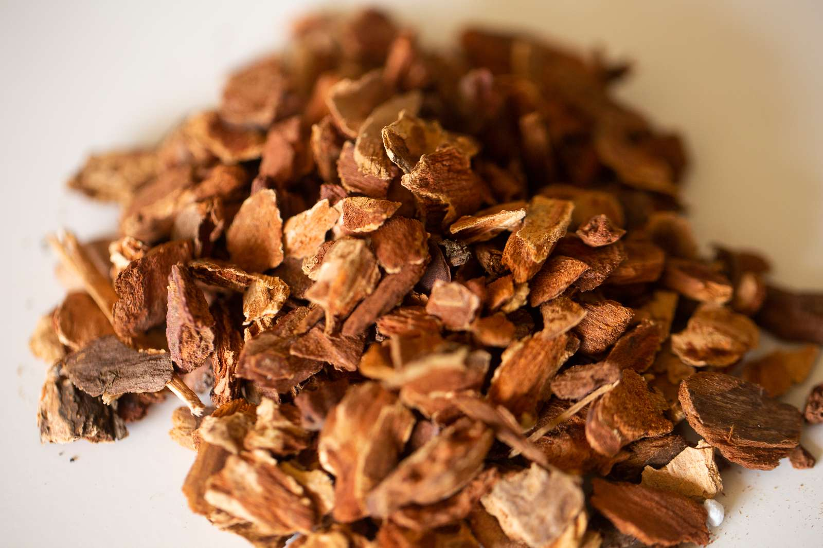 Pile of bark chips for soilless potting mix closeup