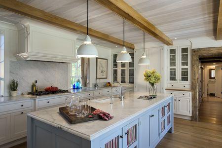 Blue White Wood Modern Farmhouse Kitchen