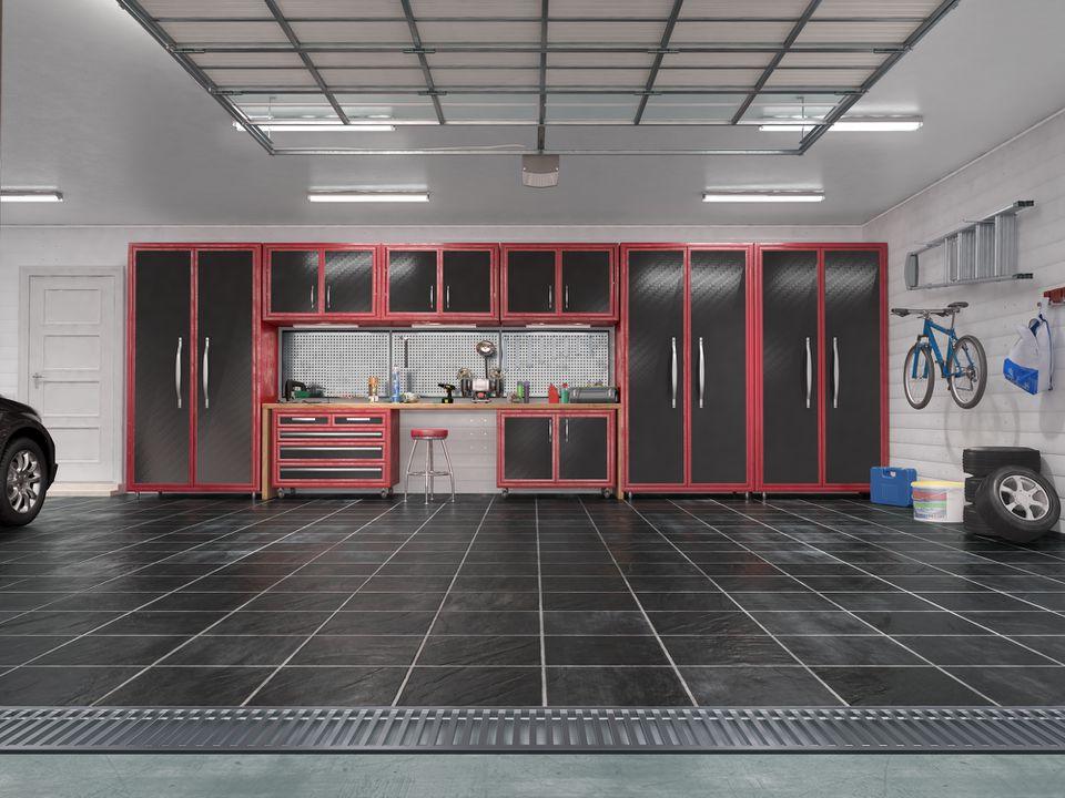 Garage with rolling gate interior. 3d illustration